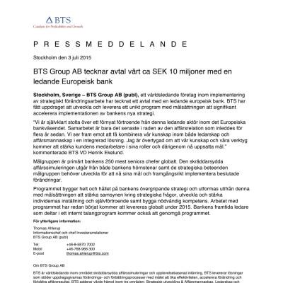 BTS Group AB tecknar avtal värt ca SEK 10 miljoner med en ledande Europeisk bank