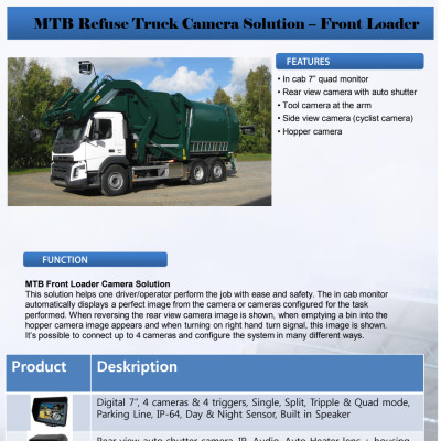 MTB Refuse Truck Camera Solution – Front Loader