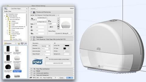 Tork Dispenser Toilet Paper Mini Jumbo Roll (T2) as a BIM object in 3D
