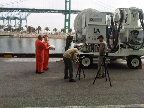 Mårten and Oskar discuss filming tactics at the Port of Los Angeles