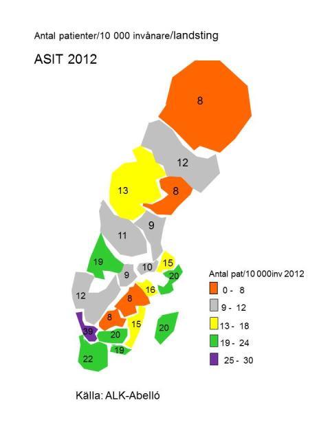 Nya siffror, allergivaccination eller inte beror på var du bor