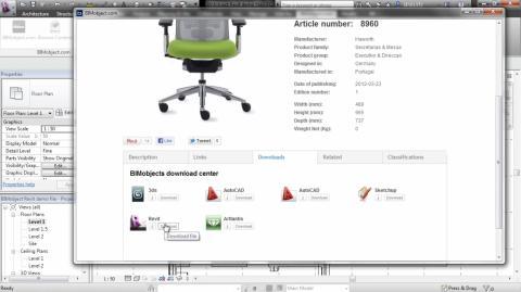 BIMobject extension (app) för Revit 2013 - skärmbild - nedladdning från BIMobject direkt inuti Revit