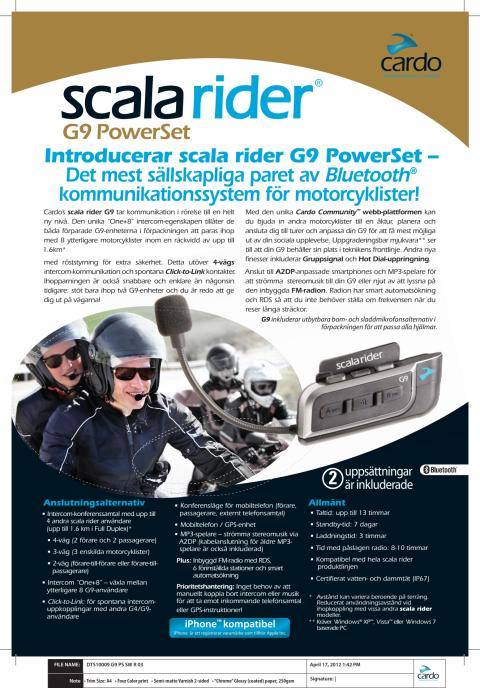 Cardo Scala Rider G9 faktablad