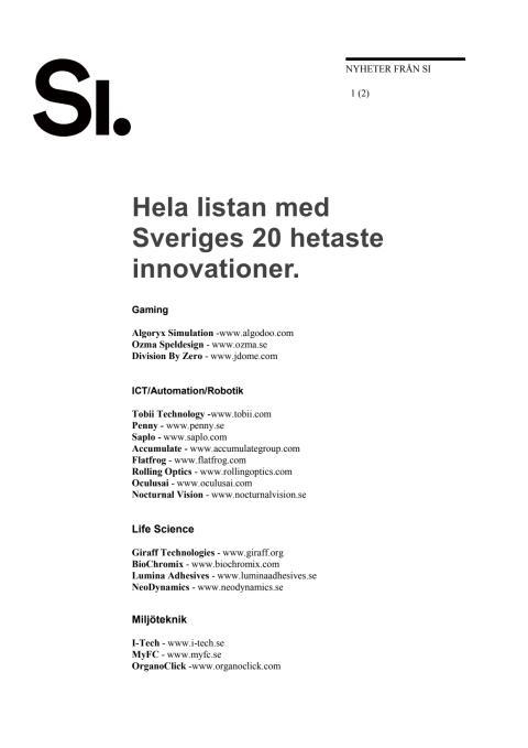 Hela listan: Sveriges 20 hetaste innovationer bland unga tillväxtföretag