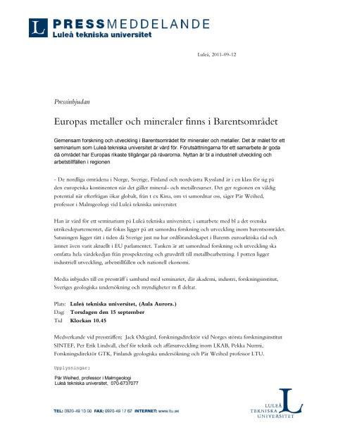 Pressinbjudan- Europas metaller och mineraler finns i Barentsområdet