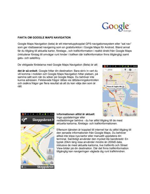 Fakta om Google Maps Navigation