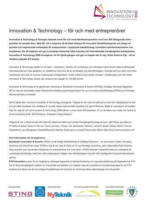 Övergripande information om Innovation & Technology 2008