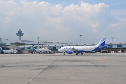 India's IndiGo arrives at Changi Airport