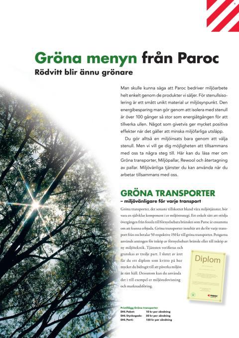 Gröna menyn från Paroc – minskar miljöpåverkan hela vägen