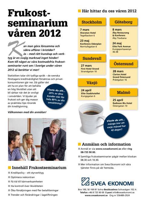Frukostseminarier våren 2012