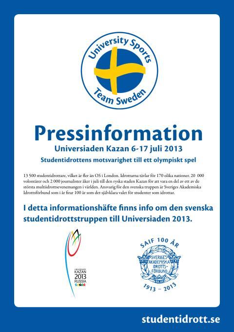 Pressinfo - Svenska truppen till Universiaden i Kazan 2013