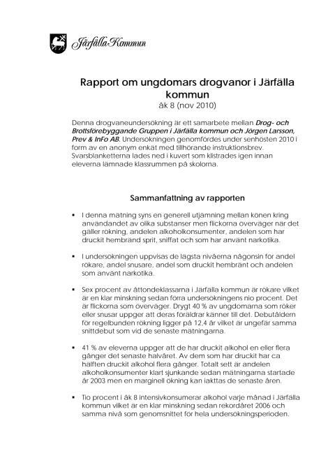 Sammanfattning ungdomars drogvanor i Järfälla kommun år 8 2010