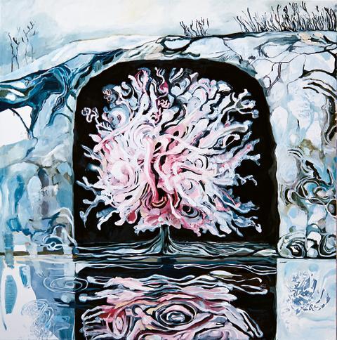 Det blommande fruktträdet i grottan/Blommande fruktträd på mörk grund, Meta Isæus-Berlin