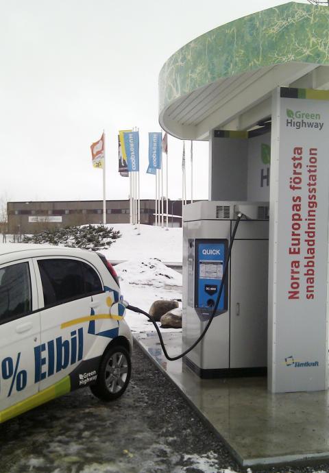 Nu invigs norra Europas första snabbladdningsstation för elbilar i Östersund