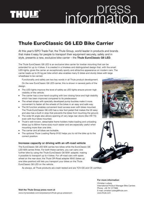 Information om Thule EuroClassic G6 LED