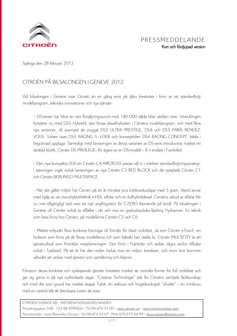 CITROËN PÅ BILSALONGEN I GENEVE 2012