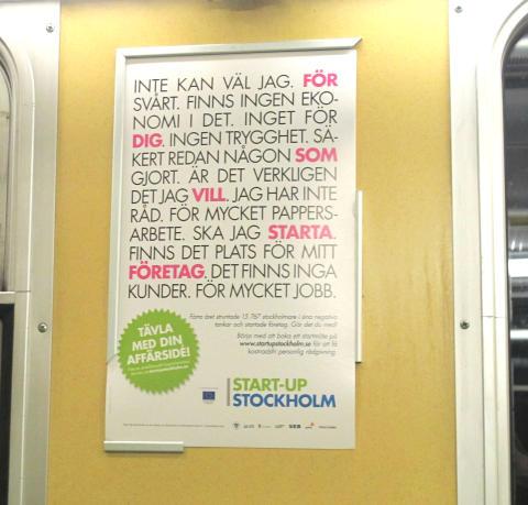 Tunnelbanekampanj ska få fler att ta steget och starta företag