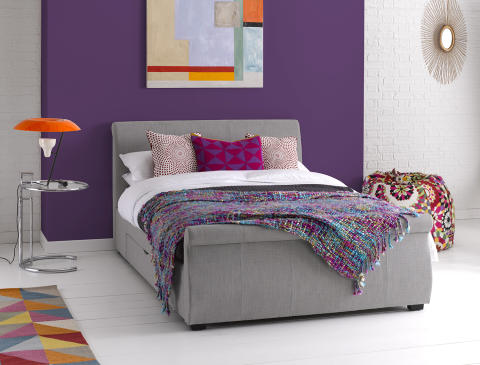Dreams lucia bed frame in light grey dreams for Beds n dreams
