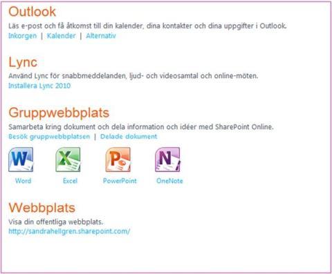 Gränssnittet i Office 365