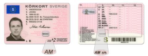 Bild på körkort med den nya behörigheten AM.