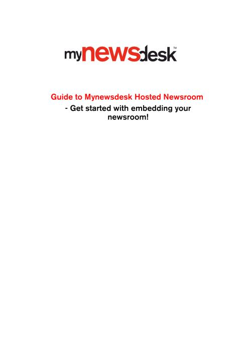 Hosted Newsroom Guidelines