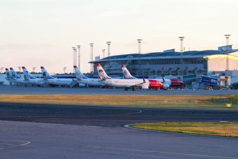Norwegian flygplan vid Terminal 2, Stockholm-Arlanda