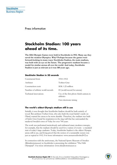 Olympic anniversary: Stockholm Stadion, 100 years ahead of its time
