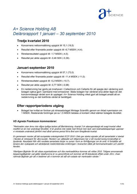 Delårsrapport Q3 2010