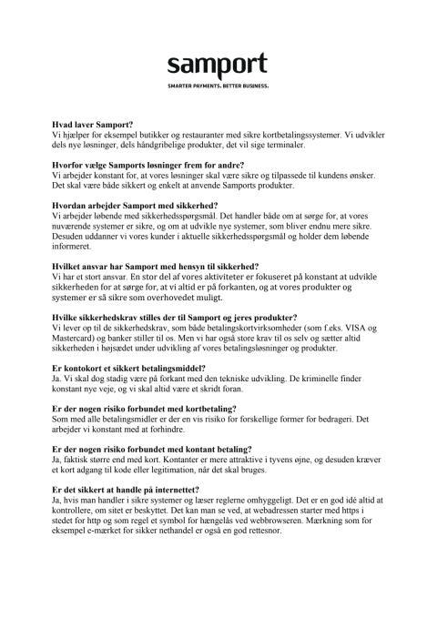 Spørgsmål og svar om Samport