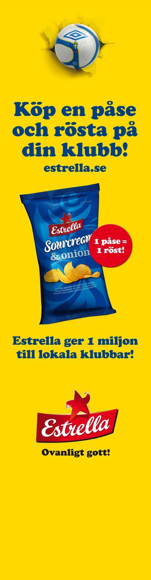 Estrella ger 1 miljon till svenska fotbollsklubbar