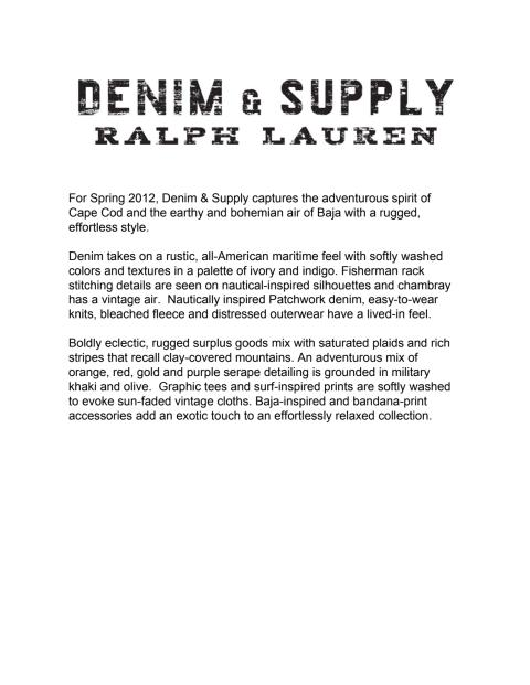 Denim & Supply Ralph Lauren - Pressemeddelelse fra Denim & Supply Ralph Lauren