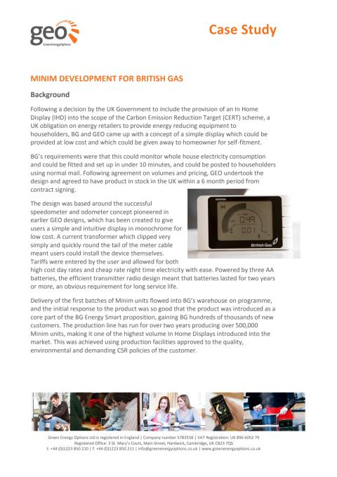 Case Study of the Minim In-Home display through British Gas