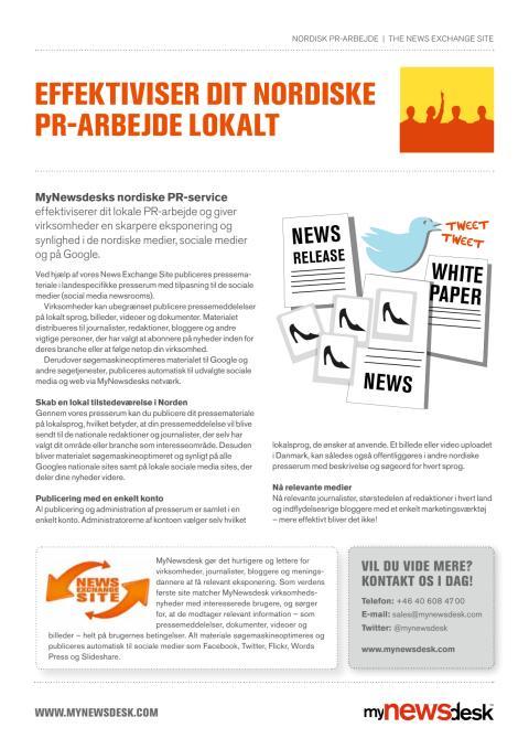 Produktblad Nordisk PR-arbejde