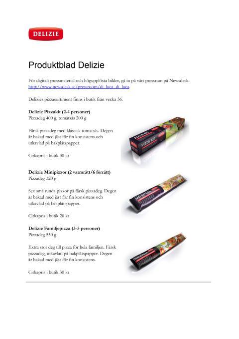 Produktblad Delizie