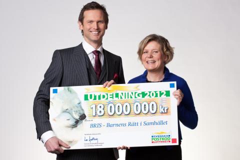 BRIS får 18 miljooooooner av Svenska PostkodLotteriet