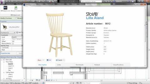 BIMobject extension (app) for Revit 2013 - BIMobject Portal product page available inside Revit