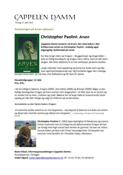 Pressemelding Arven PDF