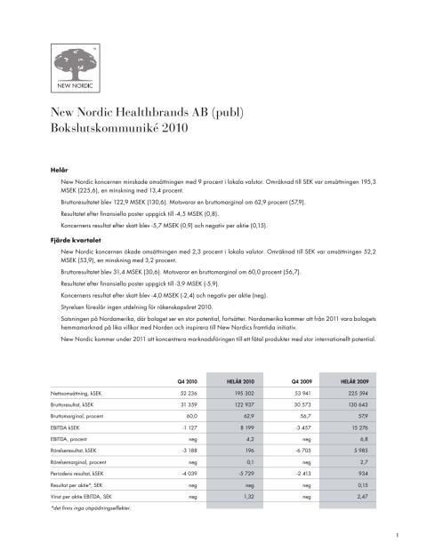Bokslutskommuniké 2010