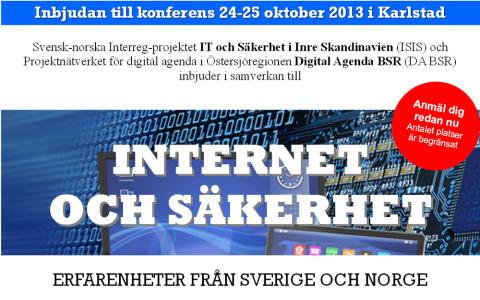 Svensk-norsk erfarenhetskonferens i Karlstad om Internet och Säkerhet