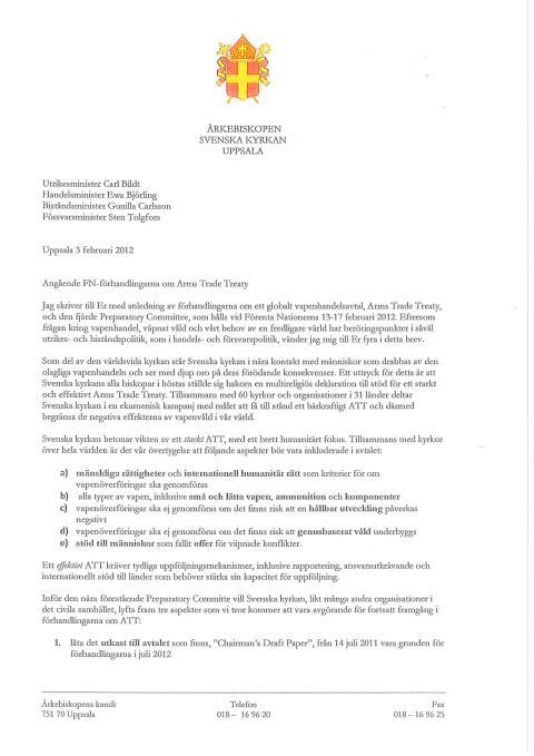 Ärkebiskopens brev till utrikesministern om globalt vapenhandelsavtal