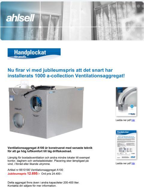 Ahlsell kör kampanj på Acetec A100 ventilationsaggregat