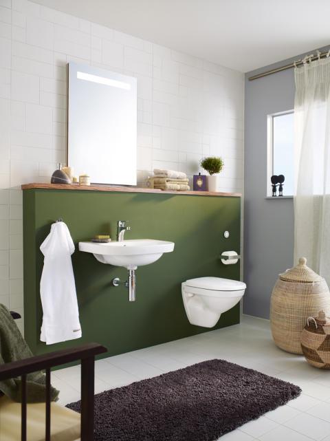 Den enkleste veien til vegghengt klosett og servant- Et baderom og 14 cm er alt du trenger