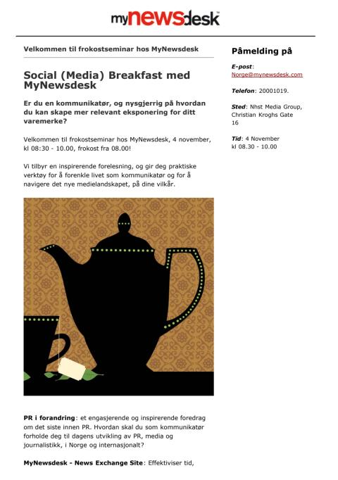 Social (Media) Breakfast med MyNewsdesk