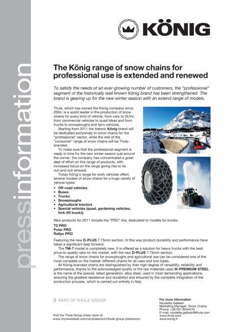 König fokuserar på snökedjor för yrkesfordon