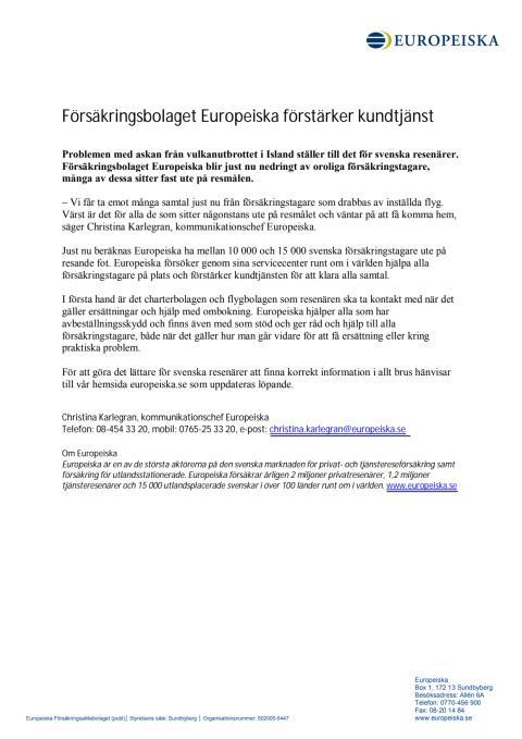 Europeiska förstärker kundtjänst - pressmeddelande 2010-04-16