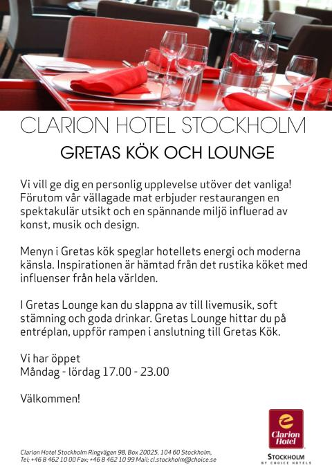 Clarion Hotel Stockholm - Gretas Kök