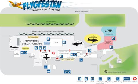 Flygfesten 5:e maj karta över området.