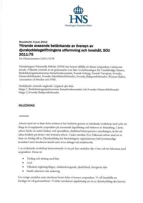 Hästnäringens gemensamma yttrande avseende översyn av djurskyddslagstiftningen