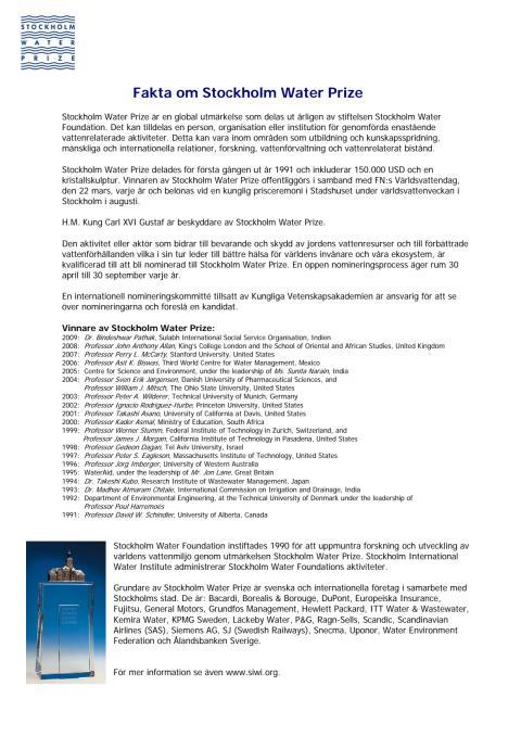 Fakta om Stockholm Water Prize (svenska)