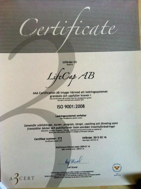 LIfecap AB har genomgått certifiering under nationell ackreditering.